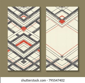 Set of cards with Art Deco geometric pattern. Retro style texture. Modern abstract design poster, cover, card design. Template for flyers, banners, posters, business, greeting and invitation card