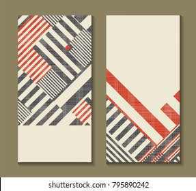 Set of cards with art deco geometric pattern . Retro style texture. Modern abstract design poster, cover, card design. Template for flyers, banners, posters, business, greeting and invitation card