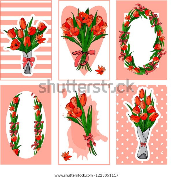 A set of cards with bouquets of red tulips. Hand-drawn vector illustration.Tulip flowers and leaves  on red background.