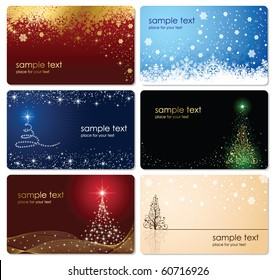Set of cards with Christmas tree, stars and snowflakes, illustration