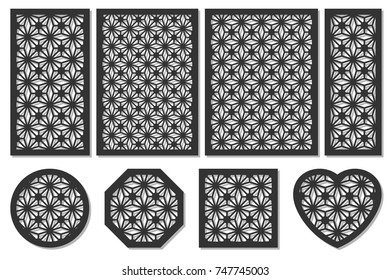 Set cards cut. Vector panels laser cutting. Ratio 1:2, 2:3, 3:4, 1:3, round, octagon, square, heart. Cut silhouette geometric patterns. Used openwork partitions, panel, printing, laser cut, stencil.