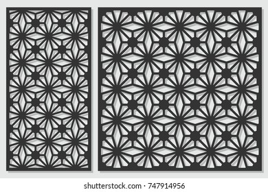 Set of cards to cut. Vector panels for laser cutting. The ratio 1:2, 1:1. Cut silhouette with geometric patterns. Used for openwork partitions, panels, printing, laser cutting, stencil.