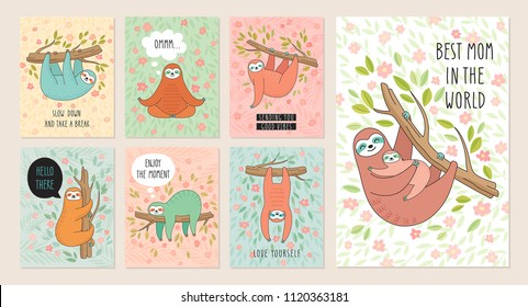 Set of cards with cute hand drawn sloths hanging on the tree. Lazy animal characters. Jungle animal flyers collection.