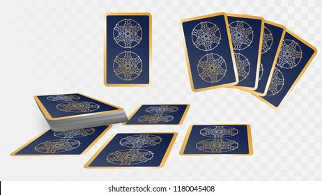 Set of cards, a deck of playing cards or tarot on a transparent background. Card reading