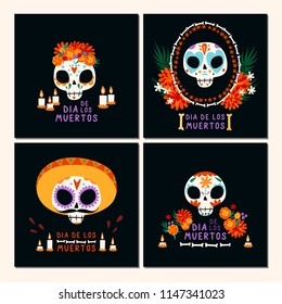 Set of cards for Dia de los Muertos (Day of the Dead), Mexican holiday. Different sculls with traditional elements.