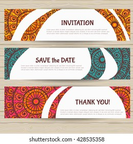 Set of cards in ethnic style. Pattern cropped with Clipping Mask. Canceling Clipping Mask,   you can easily change the position of elements.
