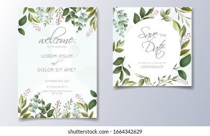 Set of cards with floral decoration. greenery wedding invitation template design