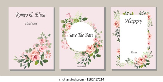 Set of cards with flowers, leaves. Vector illustration. Decorative invitation to the holiday. Wedding, birthday. Universal card.Pink rose.