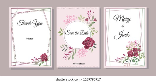 Set of cards with flowers, leaves. Vector illustration. Decorative invitation to the holiday. Wedding, birthday. Universal card. Template for text. Bordeaux roses.