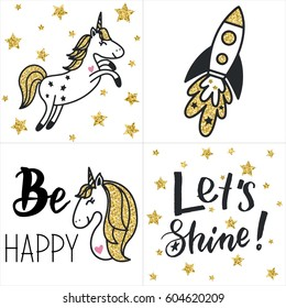 Set of cards with gold glittering unicorns, rocket, text and stars. Hand drawn vector illustration.