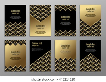 Set of cards, gold on the black. Business cards. Visiting cards. Invitations. Vector. Geometric pattern.
