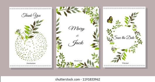 Set of cards with green leaves. Vector illustration. Decorative invitation to the holiday. Wedding, birthday. Universal card. Template for text.