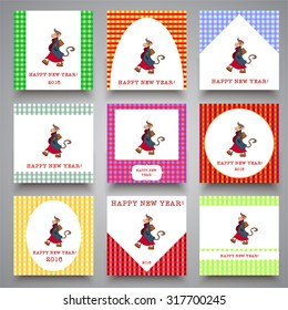 Set of cards with hand-drawn stylish hipster monkey. The symbol of the new year 2016. Template for postcards, greetings, design