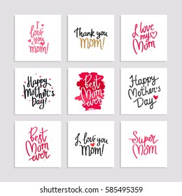 Set cards to the Happy Mother's Day. Calligraphy and lettering. Vector illustration on white background