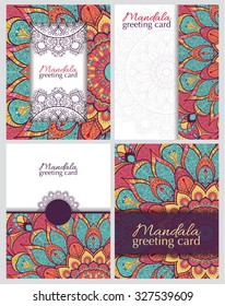 Set of cards or invitations with mandala. Hand-drawn highly detailed round elements. Vector vintage decorative elements. Islam, Arabic, Indian, Turkish, Ottoman, Pakistan motifs.