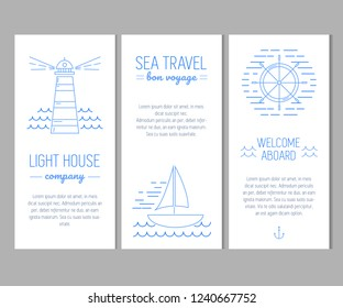 Set of cards with nautical elements in thin line style. Marine company or yacht club template
