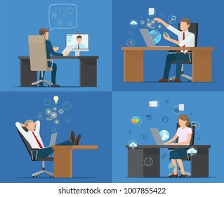 Set of cards office workers vector illustration with four employees sitting on chairs, various tables and gadgets many icons isolated on blue backdrop