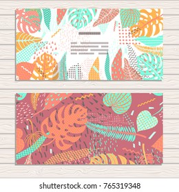 Set of cards on tropical jungle leaves theme. Pattern clipped with Clipping Mask and is fully  editable in Adobe Illustrator program