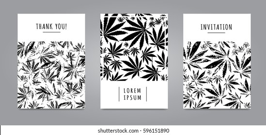 Set of cards with pattern of marijuana leaves for label, poster, web. Abstract black and white templates. Vector template Cannabis Sativa leaf for design, card, invitation, placard, brochure, flyer.