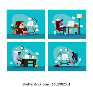set of cards people working from her home vector illustration design