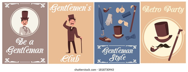 Set of cards or posters for retro gentleman party and club with cartoon men dressed in fashion of 19th century, flat vector illustration. Banners for gentleman event.