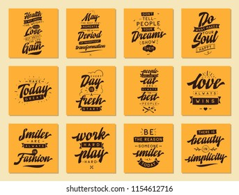 Set of cards with quotes. Vector typography design. Motivational and inspirational phrases. Usable as print for tee shirt, banner or postcard. Journaling cards with quotes.