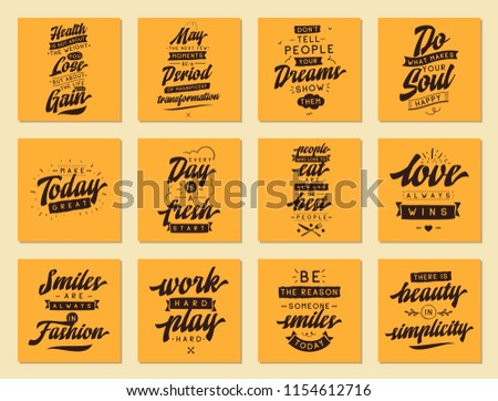 Set Cards Quotes Vector Typography Design Stock Vector Royalty Free