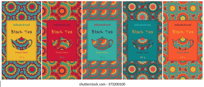 Set of cards or tea package with ethnic ornaments. Oriental indian style. Hand-drawn patterns with round elements