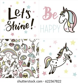 Set of cards with tender pastel colored unicorns, text and other funny stickers and seamless pattern. Hand drawn vector illustration in scandinavian style.
