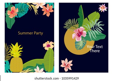 Set of cards with tropical plants. Palm and banana leaves, fruits, flowers. Template for covers, banners, wedding invitations. On black background.