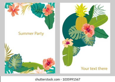 Set of cards with tropical plants. Palm and banana leaves, fruits, flowers. Template for covers, banners, wedding invitations. On white background.