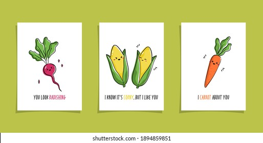 Set of cards with veggies and funny phrases. Puns with cute radish; corns and carrot. Kawaii drawing of vegetables Punny veggies
