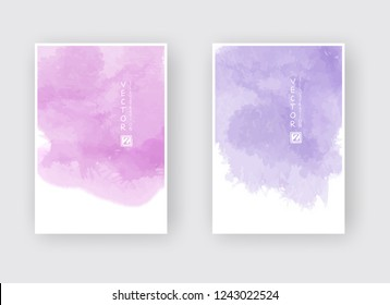 Set of cards with watercolor blots. Set of cards with hand drawn blots element on white background for your design. Design for your date, postcard, banner, logo. Vector illustration.