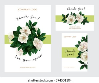 A set of cards with the words of gratitude. Vector illustration of a spring bouquet of magnolia flowers. Design template card for the hotel, beauty salon, spa, restaurant, club