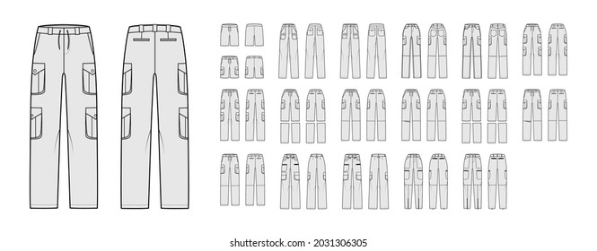 Set of Cargo pants, shorts convertible technical fashion illustration with normal low waist, high rise, box pleated pockets, belt loops. Flat front back, grey color style. Women men unisex CAD mockup