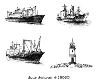 Set of cargo ships. Lighthouse. Vector illustration.