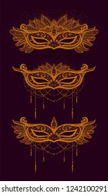 Set of carival mask for costume perty. Mardy Gras. New year.