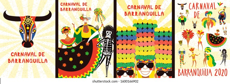 Set of Carnival of Barranquilla posters with people in traditional costumes, animal masks, tropical leaves, Spanish text. Hand drawn vector illustration. Flat style design. Concept for flyer, banner.