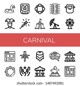Set of carnival icons such as Inflatable, Buffoon, Mask, Sparkler, Tambourine, Circus tent, Pendulum ride, Ferris wheel, Carousel, Samba, Juggling, Poncho, Merry go round , carnival