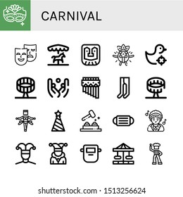 Set of carnival icons such as Carnival mask, Masks, Merry go round, Mask, Surprised, Shooting gallery, Round up ride, Juggling, Zampona, Leotard, Samba, Party hat, Whack a mole , carnival
