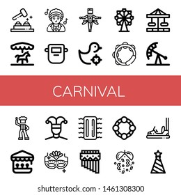 Set of carnival icons such as Whack a mole, Merry go round, Disco, Mask, Samba, Shooting gallery, Ferris wheel, Tambourine, Carousel, Pendulum ride, Buffoon, Carnival mask , carnival