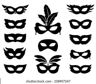 Set of carnival mask silhouettes isolated on white. Masquerade and ornate, accessory and anonymous. Vector illustration