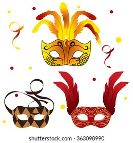 Set of carnival masks with feathers