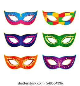 A set of carnival masks. flat vector illustration isolate on a white background
