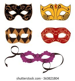 Set of carnival masks. Vector illustration