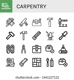 Set of carpentry icons such as Circular saw, Saw, Hand saw, Painting tools, Hammer, Carving, Chisel, Wood, Plier, Toolbox, Carpenter, Parquet, Paint tools , carpentry