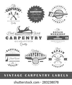 Set of carpentry labels. Elements for design on the carpentry theme. Collection of carpentry symbols. Modern labels of carpentry. Emblems and logos of carpentry. Vector illustration