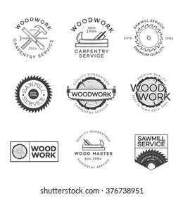 Set of carpentry service, sawmill and woodwork labels isolated on white background. Stamps, banners and design elements. Wood work and manufacture label templates. Vector illustration