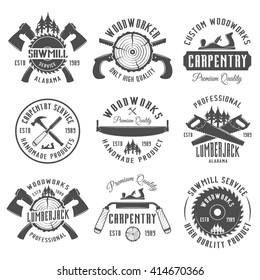 Set of carpentry, woodworkers, lumberjack, sawmill service monochrome vector labels, emblems and logos isolated on white background