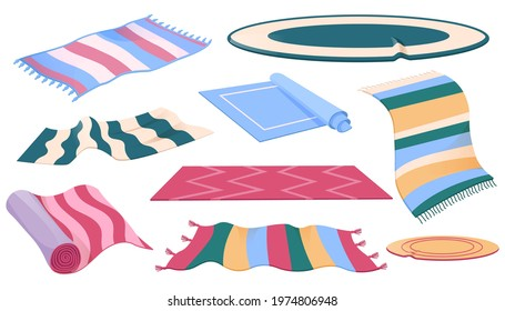 Set of carpets or rugs of different shapes, designs and colors. Floor covering, interior decor, mats with fringed edges, cozy home decoration isolated on white background, Cartoon vector illustration